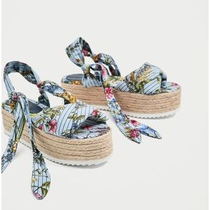 Adorable Zara ties floral raffia wedges